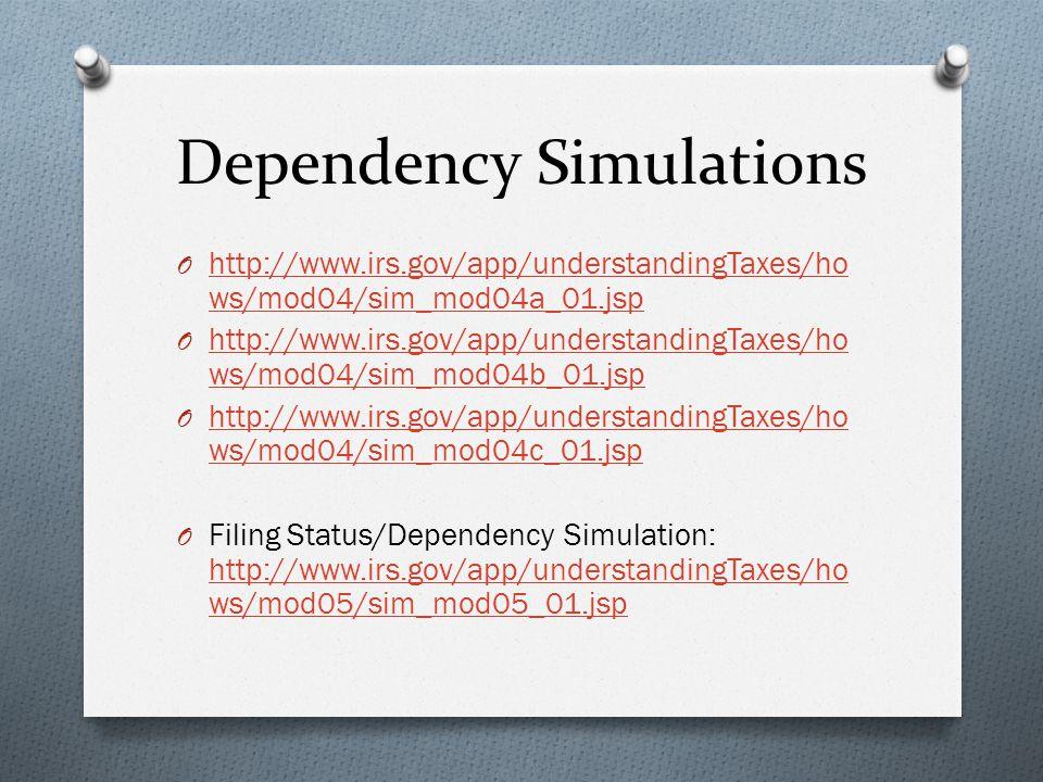 Dependency Simulations O http://www.irs.gov/app/understandingTaxes/ho ws/mod04/sim_mod04a_01.jsp http://www.irs.gov/app/understandingTaxes/ho ws/mod04/sim_mod04a_01.jsp O http://www.irs.gov/app/understandingTaxes/ho ws/mod04/sim_mod04b_01.jsp http://www.irs.gov/app/understandingTaxes/ho ws/mod04/sim_mod04b_01.jsp O http://www.irs.gov/app/understandingTaxes/ho ws/mod04/sim_mod04c_01.jsp http://www.irs.gov/app/understandingTaxes/ho ws/mod04/sim_mod04c_01.jsp O Filing Status/Dependency Simulation: http://www.irs.gov/app/understandingTaxes/ho ws/mod05/sim_mod05_01.jsp http://www.irs.gov/app/understandingTaxes/ho ws/mod05/sim_mod05_01.jsp