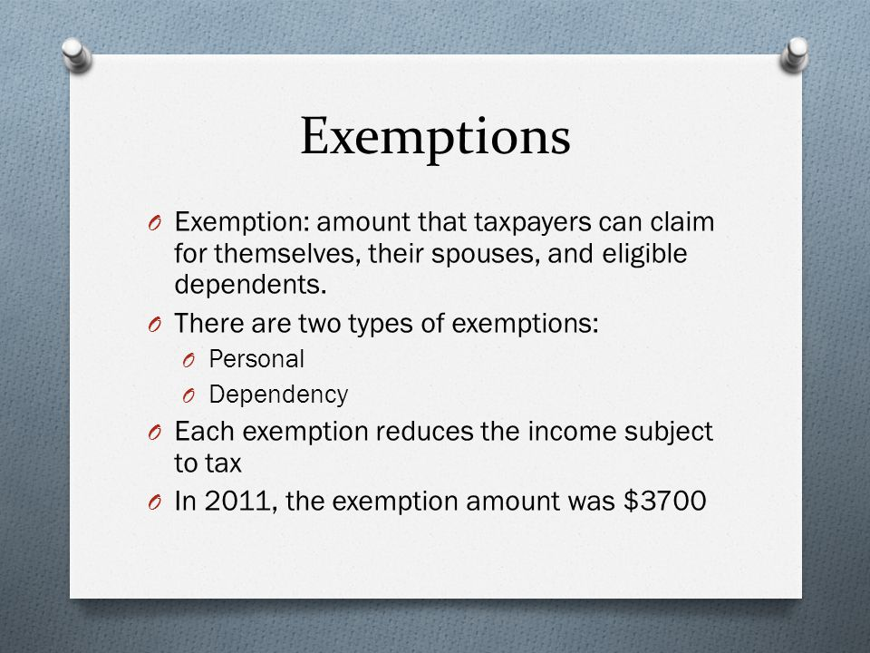 Exemptions O Exemption: amount that taxpayers can claim for themselves, their spouses, and eligible dependents.