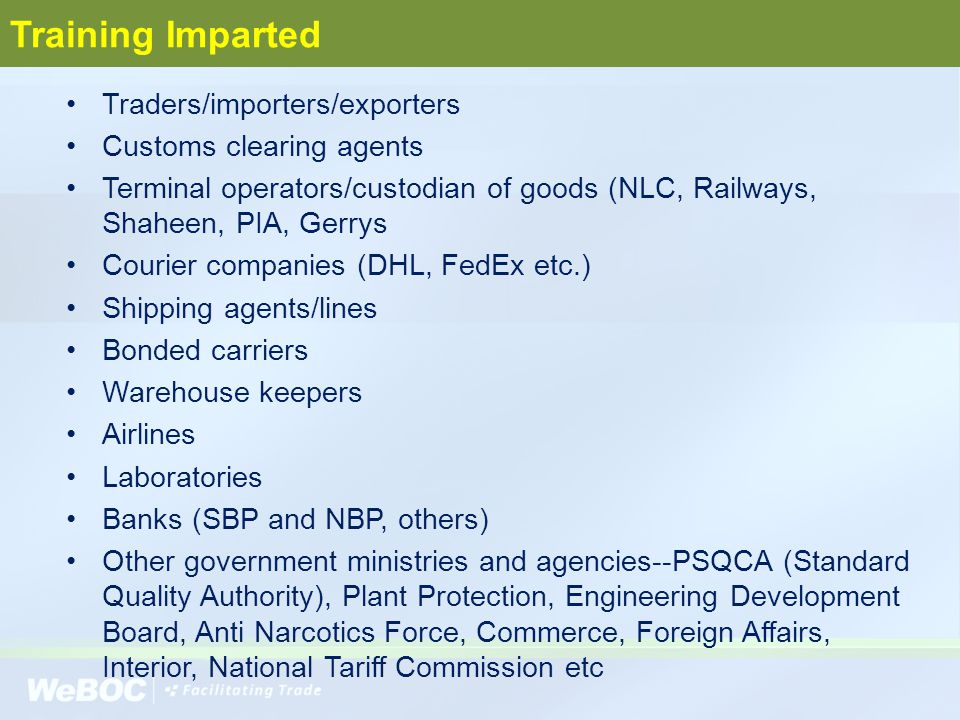 Training Imparted Traders/importers/exporters Customs clearing agents Terminal operators/custodian of goods (NLC, Railways, Shaheen, PIA, Gerrys Couri