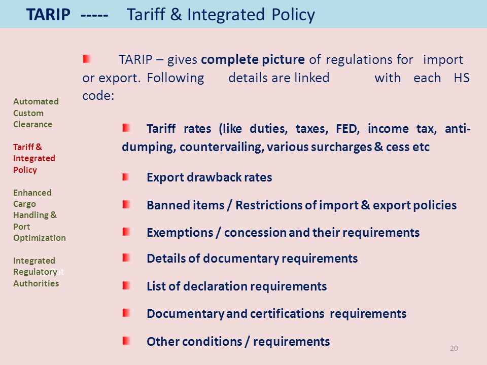 Log Out TARIP – gives complete picture of regulations for import or export. Following details are linked with each HS code: Tariff rates (like duties,