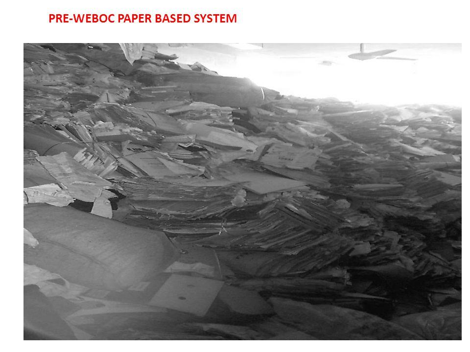 PRE-WEBOC PAPER BASED SYSTEM