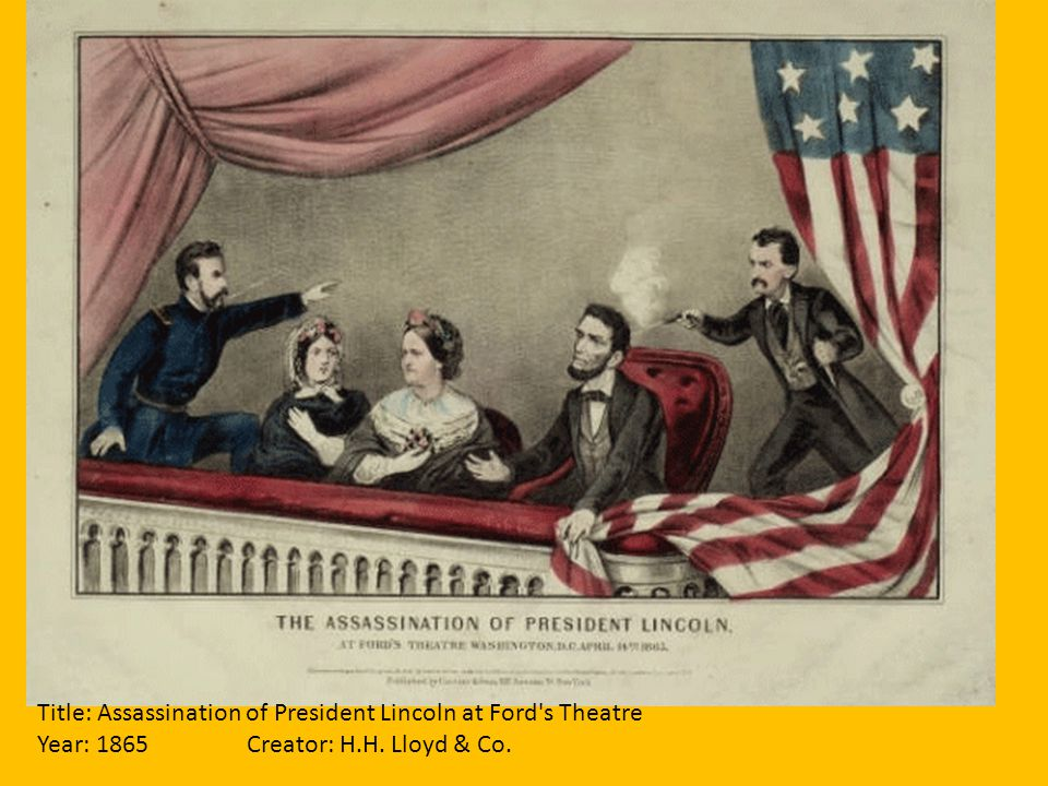 Title: Assassination of President Lincoln at Ford's Theatre Year: 1865Creator: H.H. Lloyd & Co.