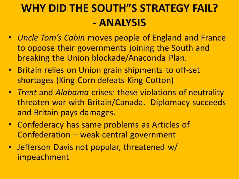 """WHY DID THE SOUTH""""S STRATEGY FAIL? - ANALYSIS Uncle Tom's Cabin moves people of England and France to oppose their governments joining the South and b"""