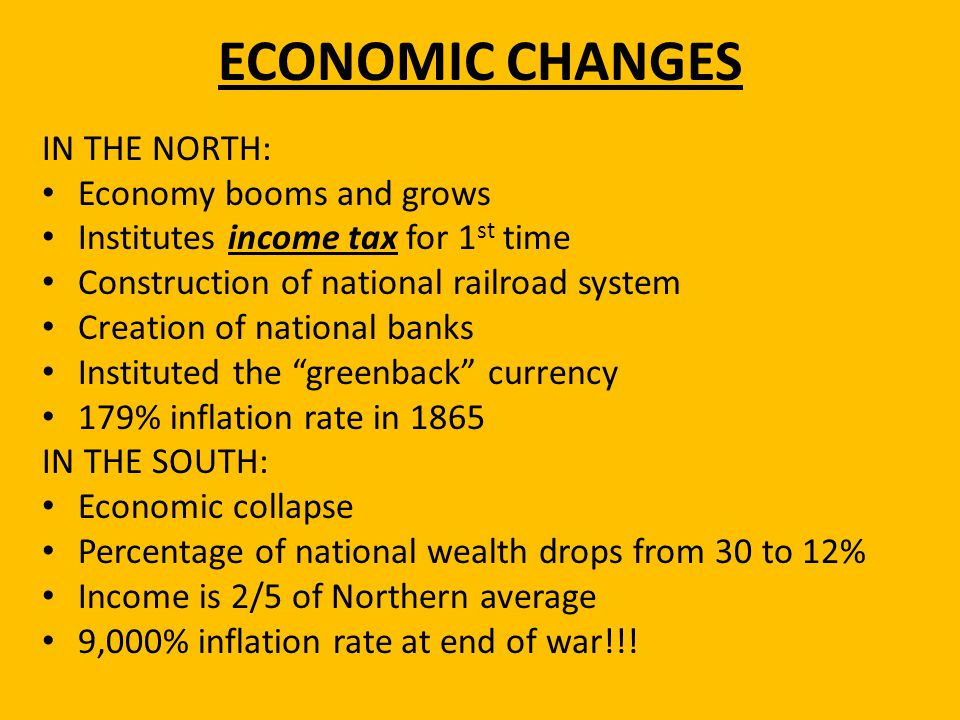 ECONOMIC CHANGES IN THE NORTH: Economy booms and grows Institutes income tax for 1 st time Construction of national railroad system Creation of nation