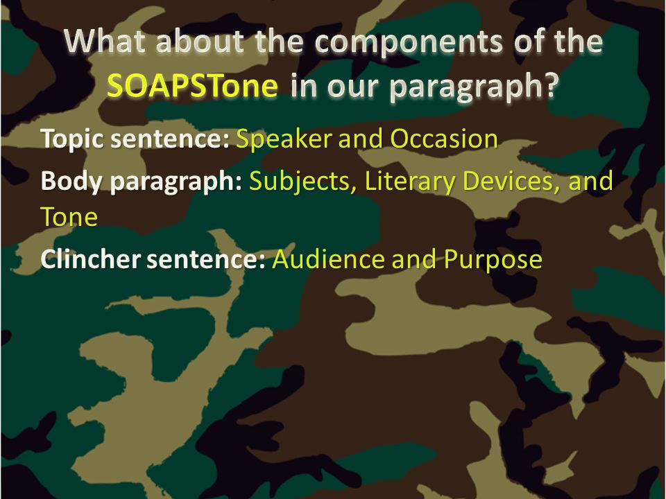 Topic sentence: Speaker and Occasion Body paragraph: Subjects, Literary Devices, and Tone Clincher sentence: Audience and Purpose