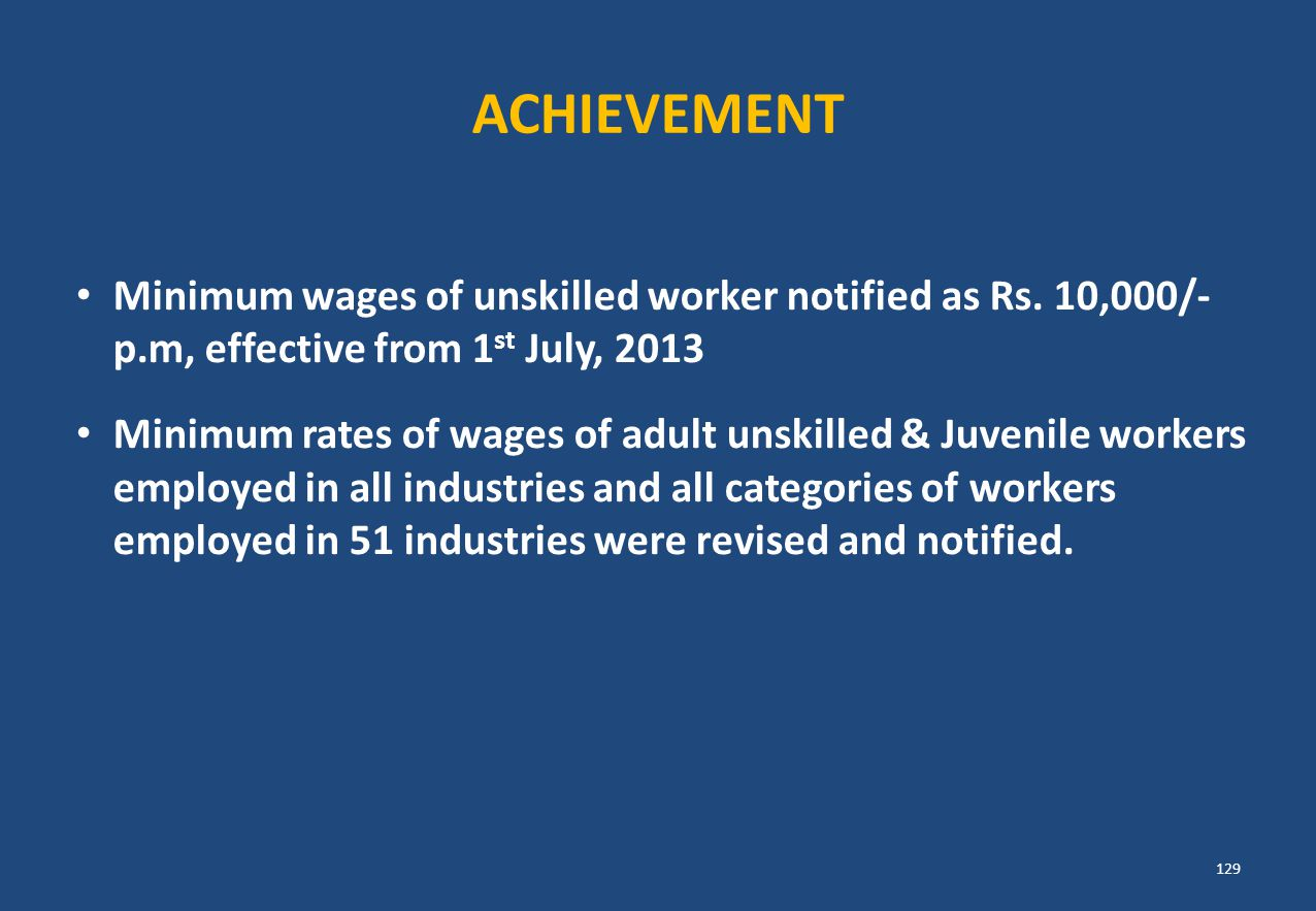 ACHIEVEMENT Minimum wages of unskilled worker notified as Rs. 10,000/- p.m, effective from 1 st July, 2013 Minimum rates of wages of adult unskilled &