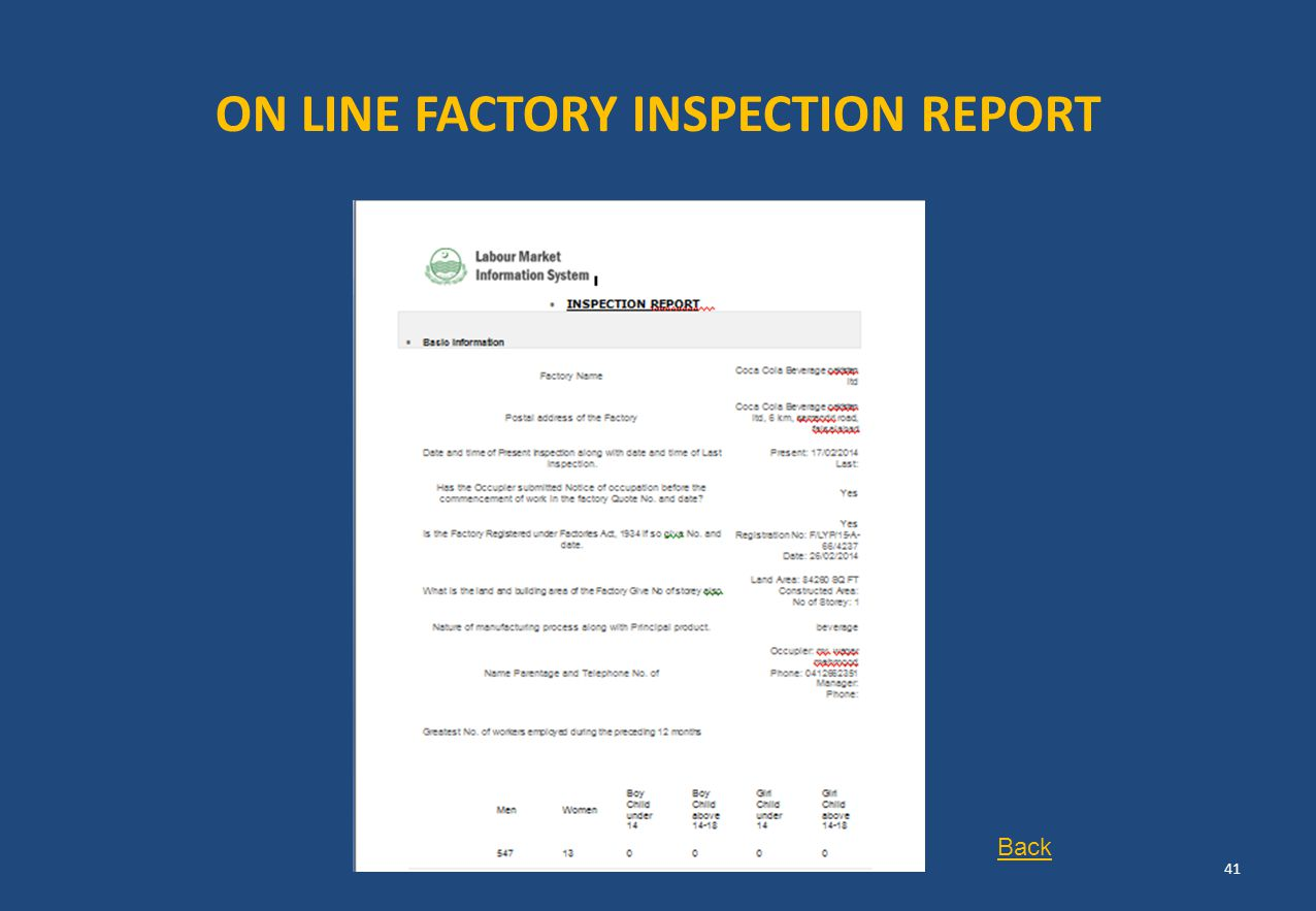 ON LINE FACTORY INSPECTION REPORT 41 Back