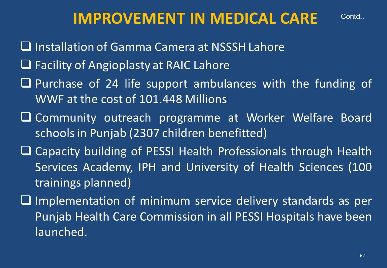  Installation of Gamma Camera at NSSSH Lahore  Facility of Angioplasty at RAIC Lahore  Purchase of 24 life support ambulances with the funding of W