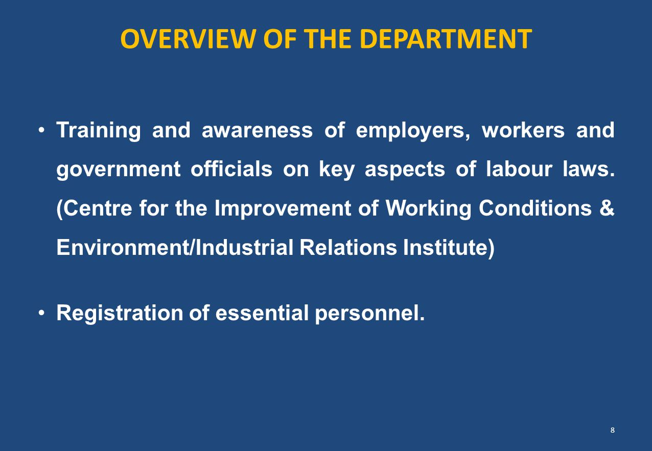 OVERVIEW OF THE DEPARTMENT Training and awareness of employers, workers and government officials on key aspects of labour laws. (Centre for the Improv