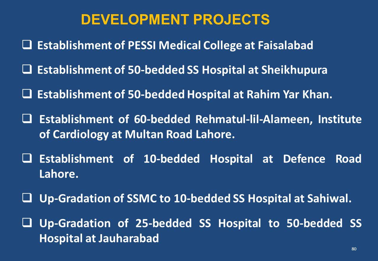  Establishment of PESSI Medical College at Faisalabad  Establishment of 50-bedded SS Hospital at Sheikhupura  Establishment of 50-bedded Hospital a