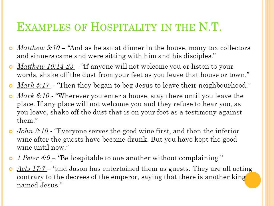 E XAMPLES OF H OSPITALITY IN THE N.T.