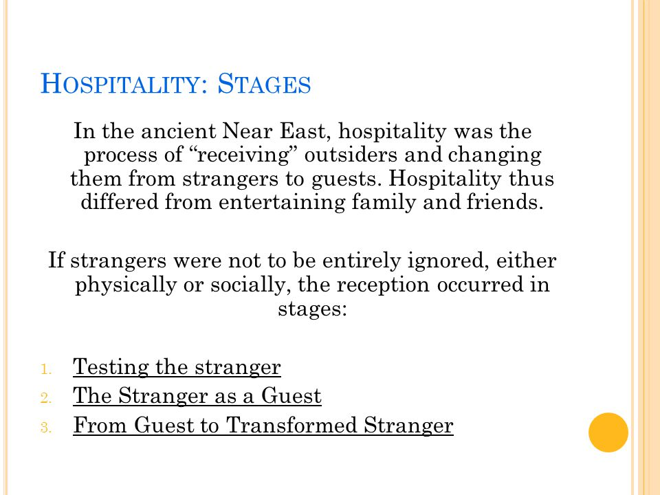 H OSPITALITY : I N L UKE The approach of hospitality taken in the gospel of Luke, related to the 'hospitality of God'.