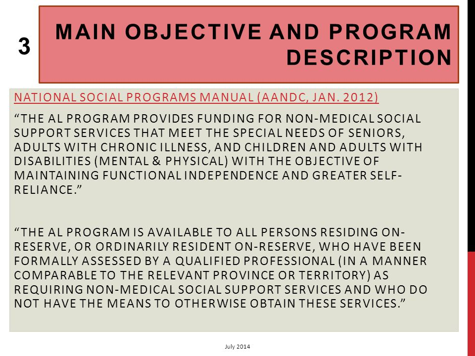 FOUR MAJOR SERVICE COMPONENTS NATIONAL SOCIAL PROGRAMS MANUAL (AANDC, JAN.