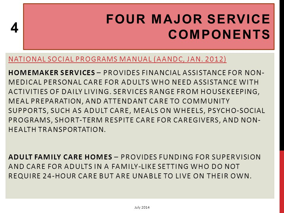 FOUR MAJOR SERVICE COMPONENTS 2 INSTITUTIONAL CARE – REIMBURSES FOR SOME EXPENSES RELATED TO TYPE I AND TYPE II CARE IN DESIGNATED FACILITIES FOR ADULTS.