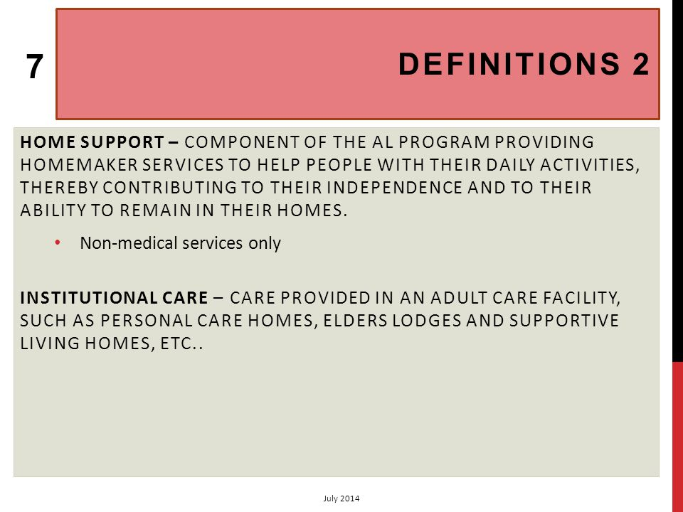 CHAPTER 3 ADULT INSTITUTIONAL CARE: ELIGIBILITY (3.1) VOLUME 2: ASSISTED LIVING PROGRAM (AANDC, JUNE.