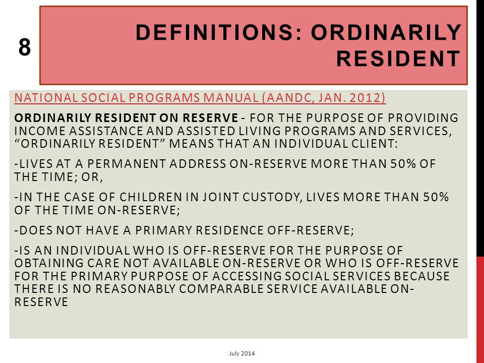 CHAPTER 2 HOMEMAKER SERVICES: APPLICATION PROCEDURES 4 (2.2) VOLUME 2: ASSISTED LIVING PROGRAM (AANDC, JUNE.