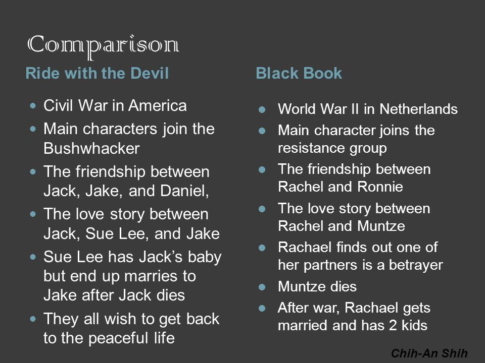 Comparison Ride with the DevilBlack Book Civil War in America Main characters join the Bushwhacker The friendship between Jack, Jake, and Daniel, The love story between Jack, Sue Lee, and Jake Sue Lee has Jack's baby but end up marries to Jake after Jack dies They all wish to get back to the peaceful life World War II in Netherlands Main character joins the resistance group The friendship between Rachel and Ronnie The love story between Rachel and Muntze Rachael finds out one of her partners is a betrayer Muntze dies After war, Rachael gets married and has 2 kids Chih-An Shih