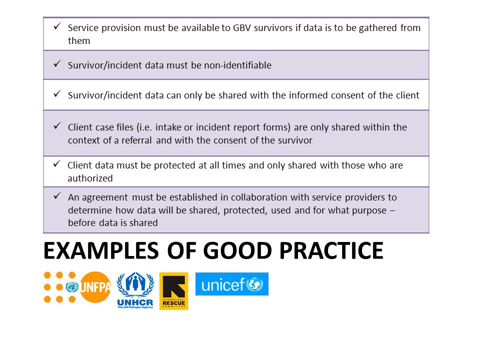 EXAMPLES OF GOOD PRACTICE Service provision must be available to GBV survivors if data is to be gathered from them Survivor/incident data must be non-