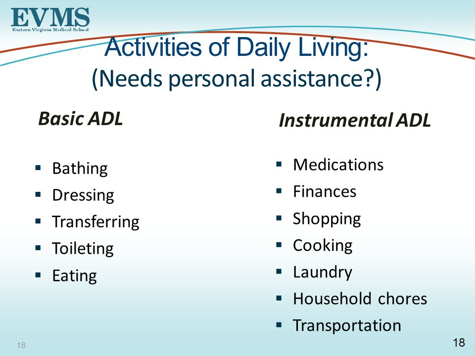 18 Activities of Daily Living: (Needs personal assistance ) Basic ADL  Bathing  Dressing  Transferring  Toileting  Eating Instrumental ADL  Medications  Finances  Shopping  Cooking  Laundry  Household chores  Transportation 18