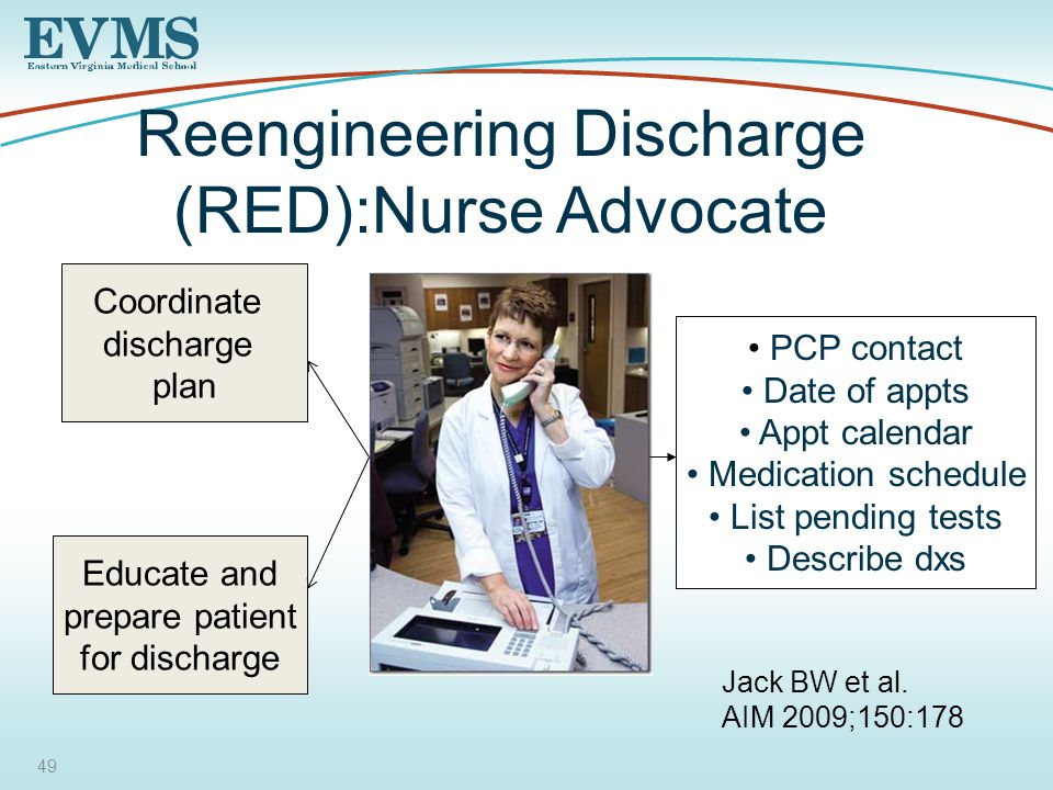 49 Reengineering Discharge (RED):Nurse Advocate Coordinate discharge plan Educate and prepare patient for discharge PCP contact Date of appts Appt calendar Medication schedule List pending tests Describe dxs Jack BW et al.