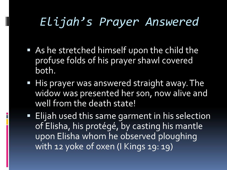 Elijah's Prayer Answered  As he stretched himself upon the child the profuse folds of his prayer shawl covered both.  His prayer was answered straig