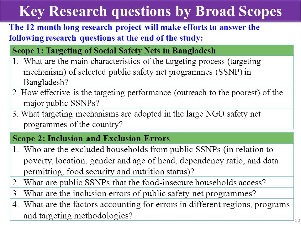Key Research questions by Broad Scopes 50 Scope 1: Targeting of Social Safety Nets in Bangladesh 1.What are the main characteristics of the targeting
