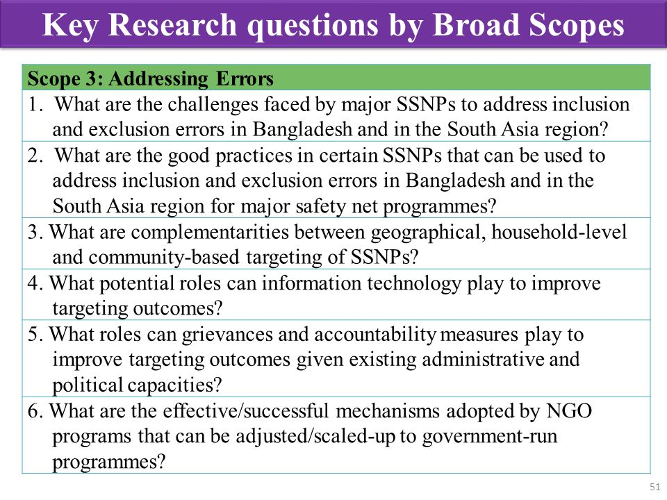 51 Scope 3: Addressing Errors 1. What are the challenges faced by major SSNPs to address inclusion and exclusion errors in Bangladesh and in the South