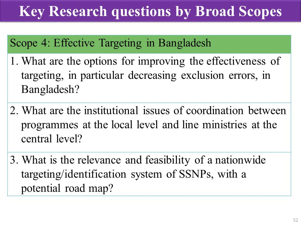 52 Scope 4: Effective Targeting in Bangladesh 1.What are the options for improving the effectiveness of targeting, in particular decreasing exclusion
