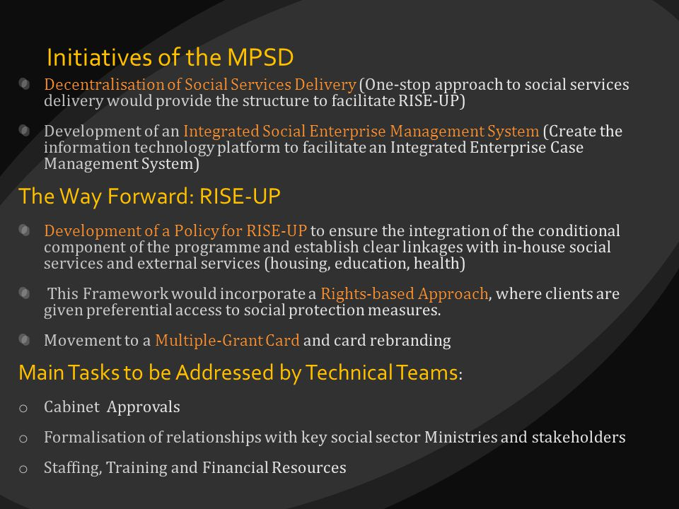 Initiatives of the MPSD