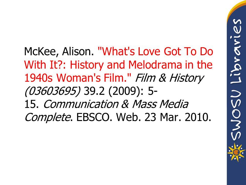 McKee, Alison.