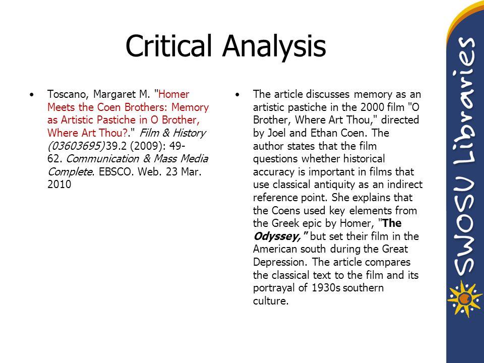 Critical Analysis Toscano, Margaret M.