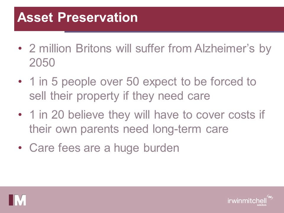 Asset Preservation 2 million Britons will suffer from Alzheimer's by 2050 1 in 5 people over 50 expect to be forced to sell their property if they need care 1 in 20 believe they will have to cover costs if their own parents need long-term care Care fees are a huge burden