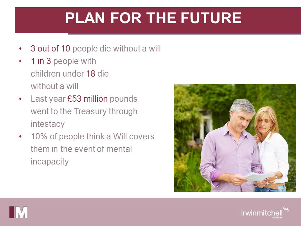 Will Writing We all have other priorities Thinking about your demise Making difficult decisions e.g Guardians, Trustees Confronting family issues and disputes Reluctance to access legal services
