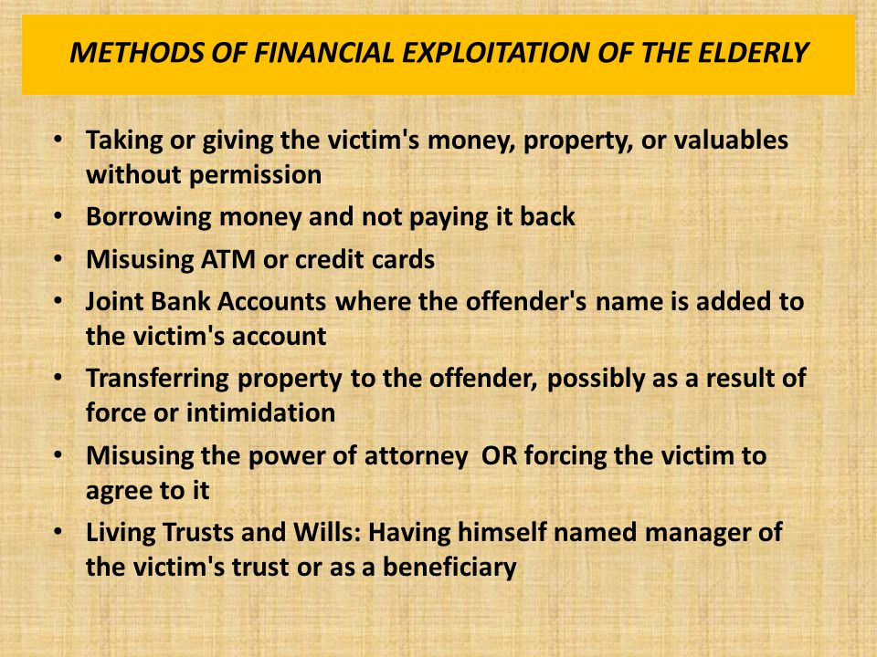 WHAT IS EXPLOITATION OF THE ELDERLY.LA R.S.