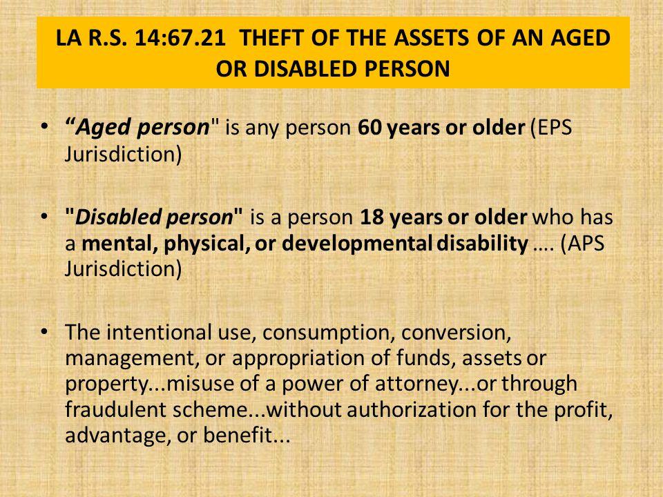 PENALTIES FOR THEFT OF ASSETS OF ELDERLY LA R.S.