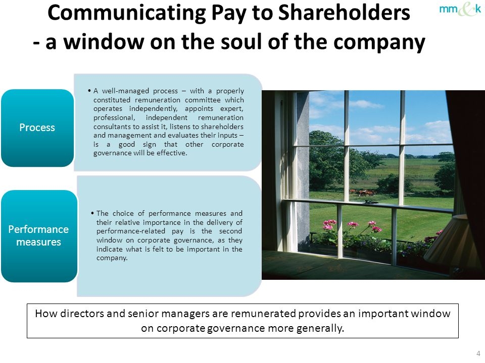 Communicating Pay to Shareholders - a window on the soul of the company 4 How directors and senior managers are remunerated provides an important wind