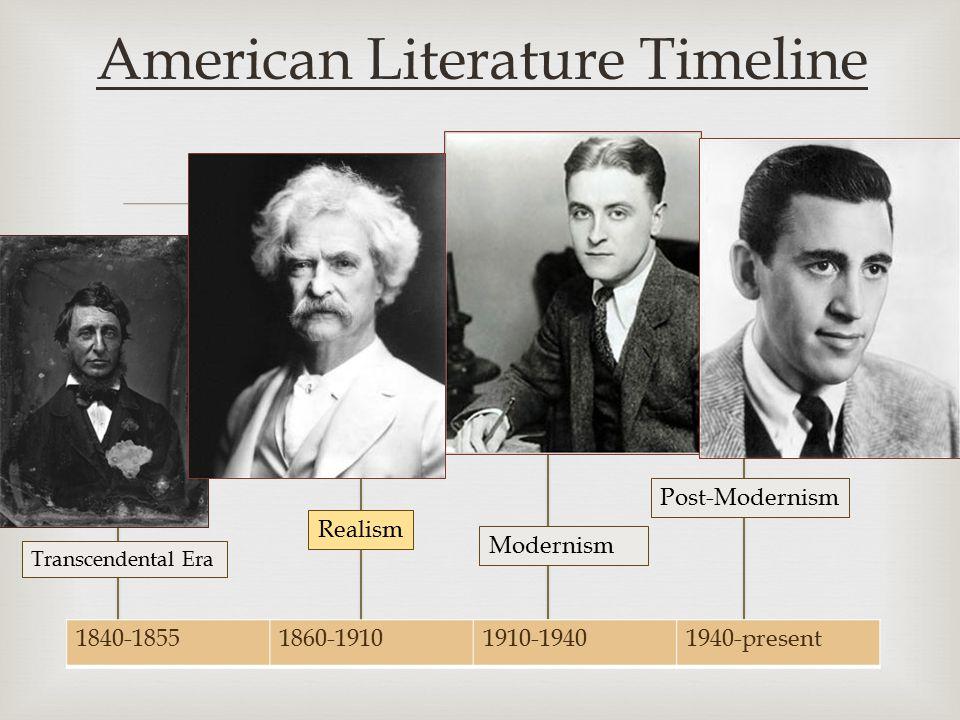  1840-18551860-19101910-19401940-present American Literature Timeline Transcendental Era Realism Post-Modernism Modernism