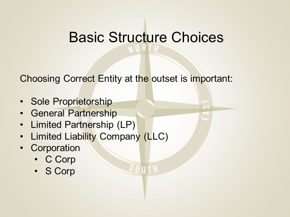 Basic Structure Choices Choosing Correct Entity at the outset is important: Sole Proprietorship General Partnership Limited Partnership (LP) Limited Liability Company (LLC) Corporation C Corp S Corp