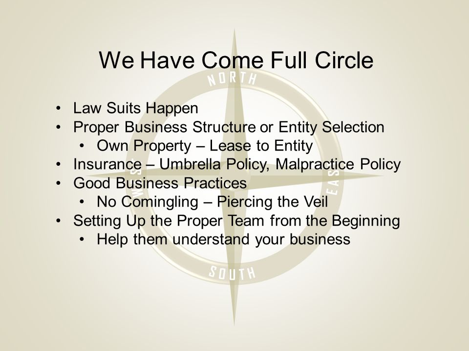 We Have Come Full Circle Law Suits Happen Proper Business Structure or Entity Selection Own Property – Lease to Entity Insurance – Umbrella Policy, Malpractice Policy Good Business Practices No Comingling – Piercing the Veil Setting Up the Proper Team from the Beginning Help them understand your business