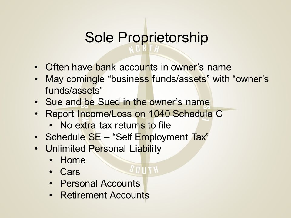 Sole Proprietorship Often have bank accounts in owner's name May comingle business funds/assets with owner's funds/assets Sue and be Sued in the owner's name Report Income/Loss on 1040 Schedule C No extra tax returns to file Schedule SE – Self Employment Tax Unlimited Personal Liability Home Cars Personal Accounts Retirement Accounts