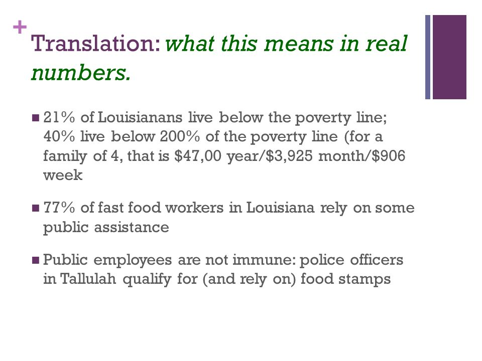 + Translation: what this means in real numbers.