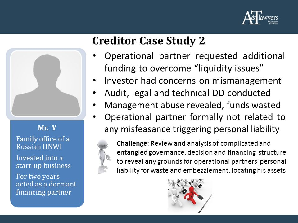Creditor Case Study 2 Mr. Y Family office of a Russian HNWI Invested into a start-up business For two years acted as a dormant financing partner Opera