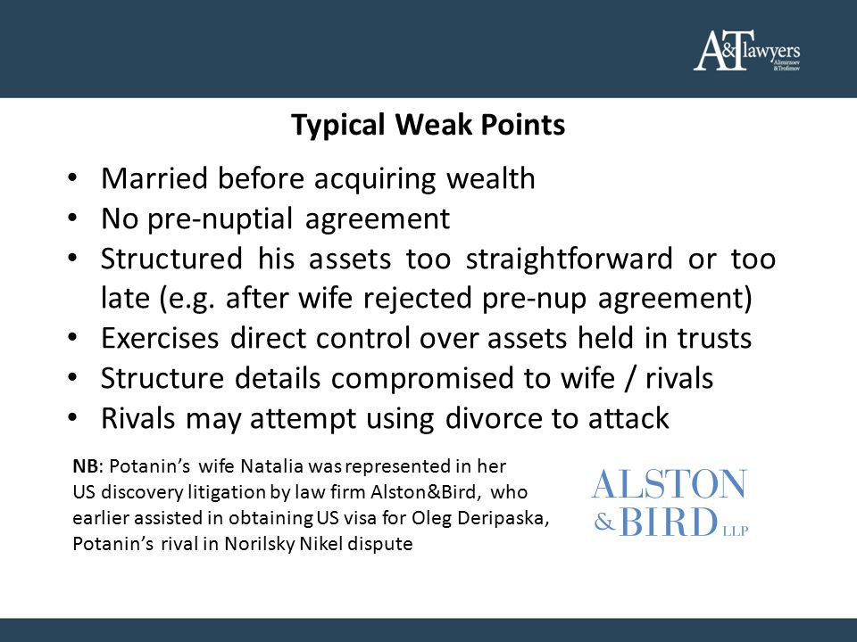 Typical Weak Points Married before acquiring wealth No pre-nuptial agreement Structured his assets too straightforward or too late (e.g.
