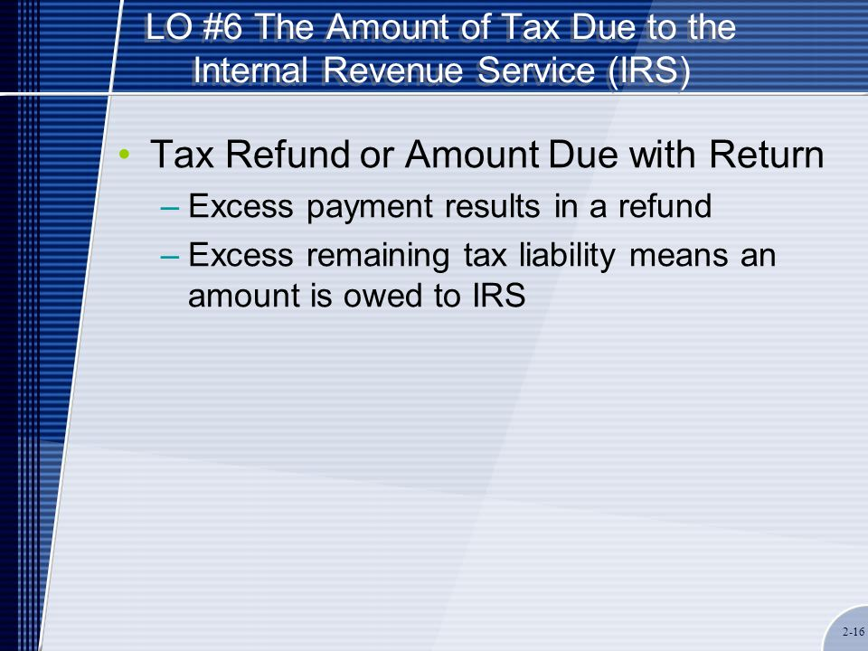 LO #6 The Amount of Tax Due to the Internal Revenue Service (IRS) Tax Refund or Amount Due with Return –Excess payment results in a refund –Excess remaining tax liability means an amount is owed to IRS 2-16