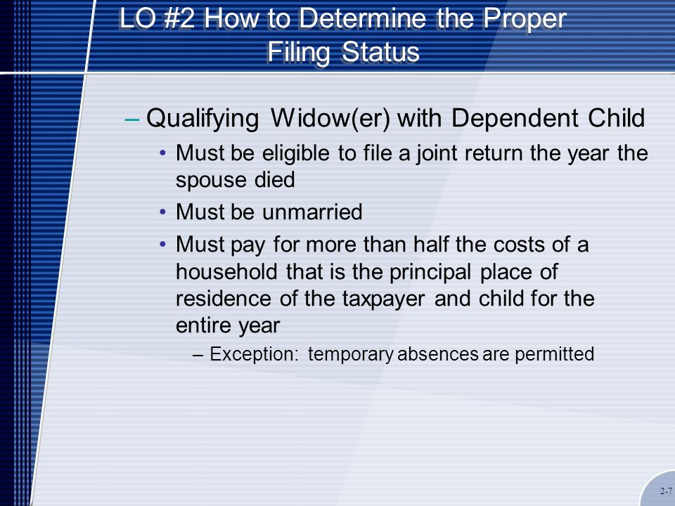 LO #7 Interest and Penalties the IRS Can Assess Penalties –Failure to file a tax return 5 percent per month or fraction of a month, not to exceed 25 percent –Any income tax return not filed within 60 days of its due date is subject to a minimum penalty of the lesser of $135 or the amount of tax required on the return –Failure to pay tax penalty.5 percent per month or fraction of a month, not to exceed 25 percent –Maximum amount is 5 percent per month or fraction of a month, not to exceed 25 percent when both penalties apply to the same situation 2-18
