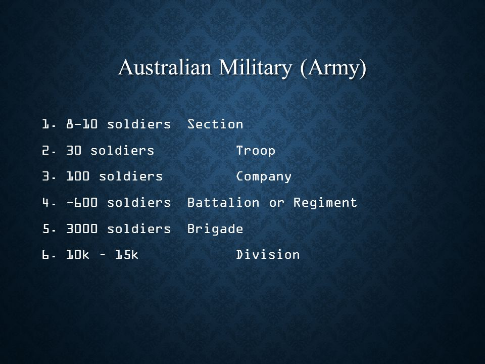 Australian Military (Army) 1. 1.8-10 soldiersSection 2.