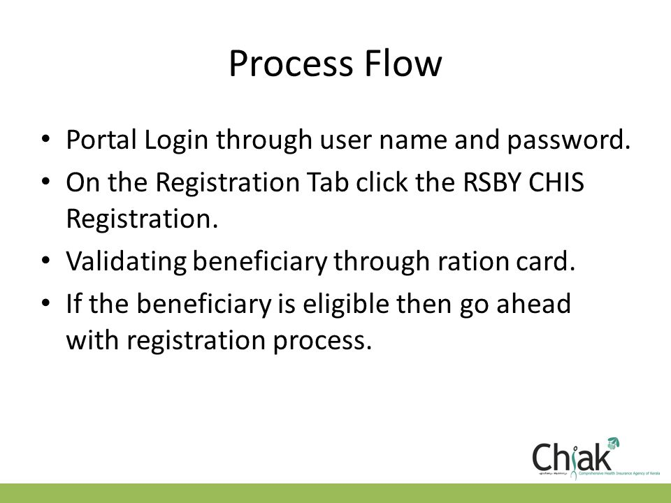 Process Flow Portal Login through user name and password.