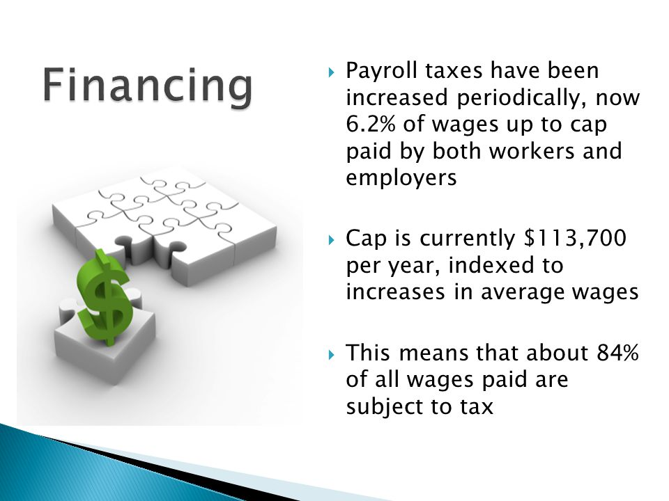  Payroll taxes have been increased periodically, now 6.2% of wages up to cap paid by both workers and employers  Cap is currently $113,700 per year,