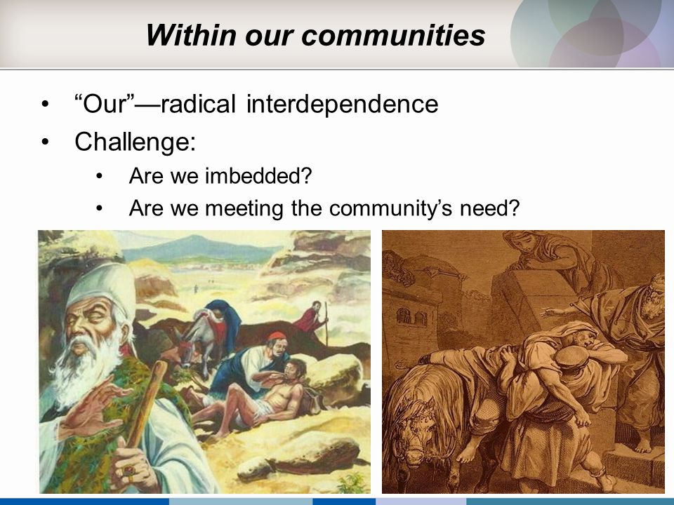 "Within our communities ""Our""—radical interdependence Challenge: Are we imbedded? Are we meeting the community's need?"