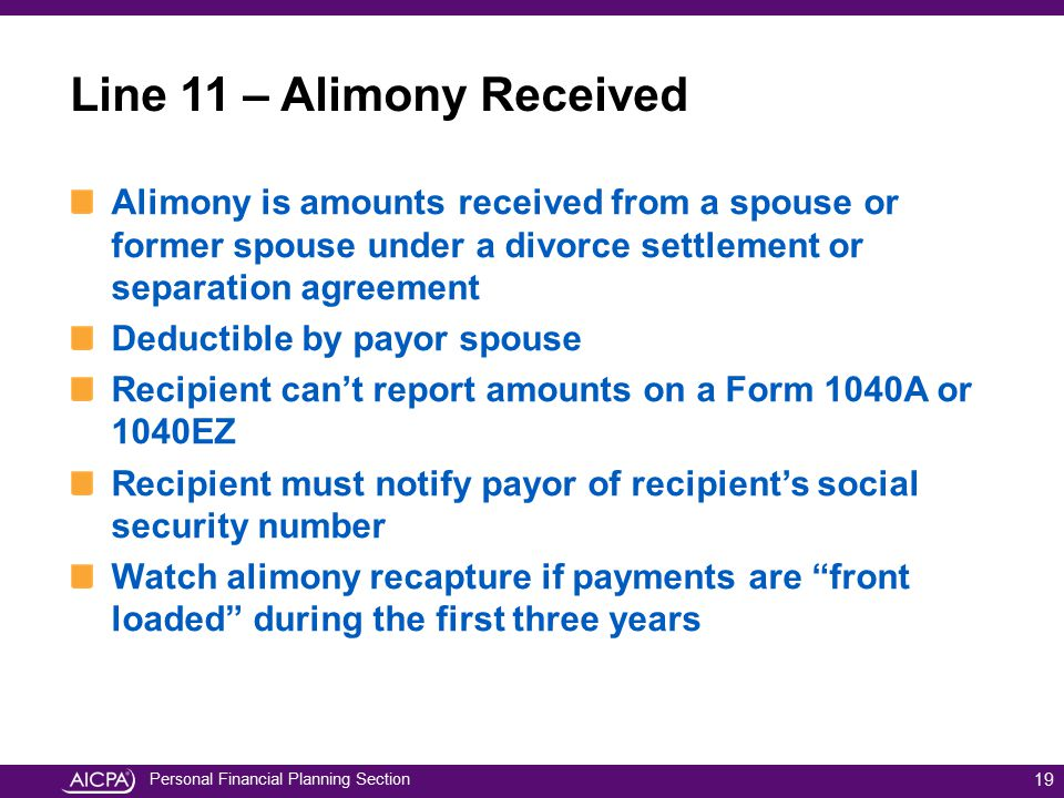 Personal Financial Planning Section 19 Alimony is amounts received from a spouse or former spouse under a divorce settlement or separation agreement D